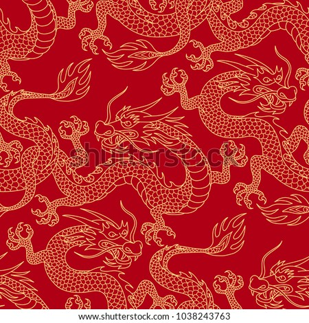 Chinese dragons fighting, gold outlines on red. Seamless pattern for textile and decoration