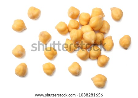chickpeas isolated on white background. top view #1038281656