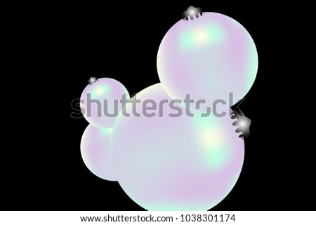 Colored Christmas balls pattern. Abstract Christmas tree toys Background for invitation, card, celebration, party, carnival, festive holiday and Your project. Vector illustration. Black Background #1038301174