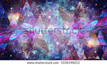 Image of the nebula, galaxy and the sacred geometry collage. Abstract cosmos. Elements of this image furnished by NASA.