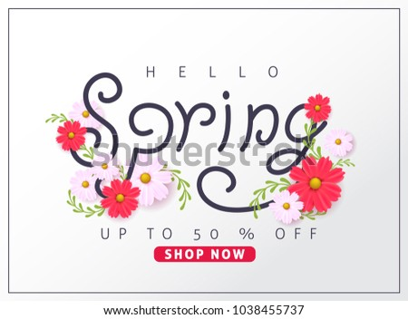 Spring sale background layout with beautiful colorful flower for banners,Wallpaper,flyers, invitation, posters, brochure, voucher discount.Vector illustration template. #1038455737