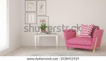 Inspiration of white minimalist room with armchair. Scandinavian interior design. 3D illustration #1038455929