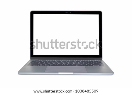 Modern laptop isolated on the white background #1038485509