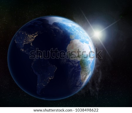 vision of the earth in outer space, sunrise #1038498622