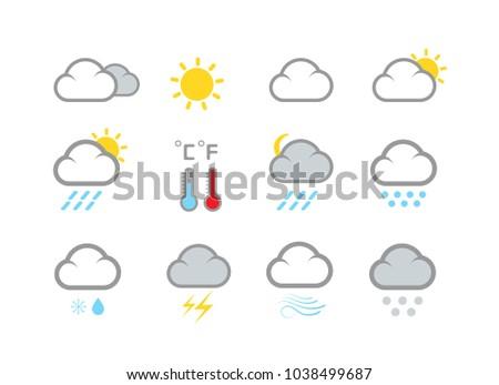 Modern weather icons set. Flat vector symbols isolated on white background. #1038499687
