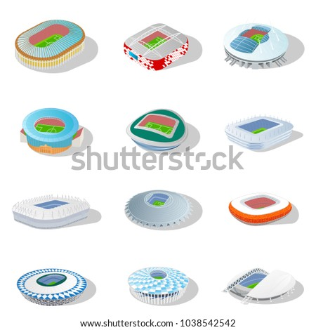 Isometric icon set or infographic elements soccer arenas. Football stadiums buildings. Russia 2018 championship. FIFA world cup. Vector illustration in flat style isolated on white background. #1038542542