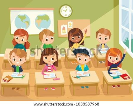 Pupils study in the classroom. School interior. Education illustration.