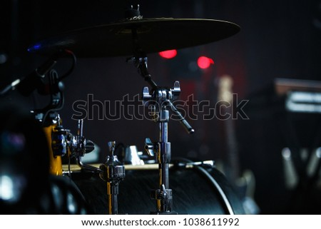 KIEV-9 FEBRUARY,2018:Professional drum kit on stage.Rock concert in Atlas,background.Pro drummer set on scene #1038611992