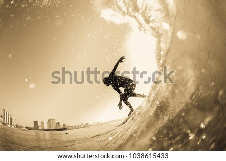 Surfing surfer silhouetted water action photo unidentified closeup in vintage sepia