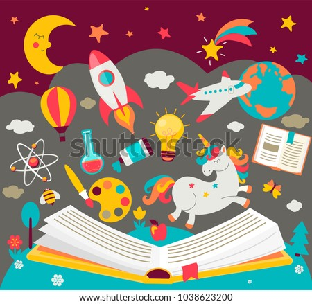 Concept of kids dreams while reading the book. ?hildren's imagination makes fairy tales real. Open book with many fabulous elements. Vector illustration in flat style.