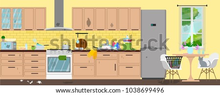 Dirty kitchen. Disorder in the interior. Vector flat illustration.
