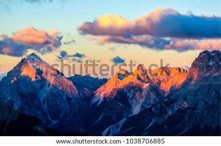 Mountain peaks sunset landscape. Sunset mountain landscape #1038706885