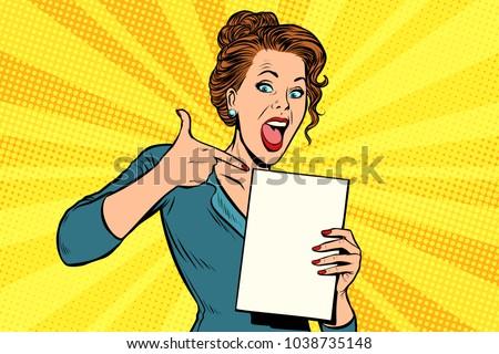 Pop art woman points to a blank template. retro vector illustration comic cartoon vintage kitsch