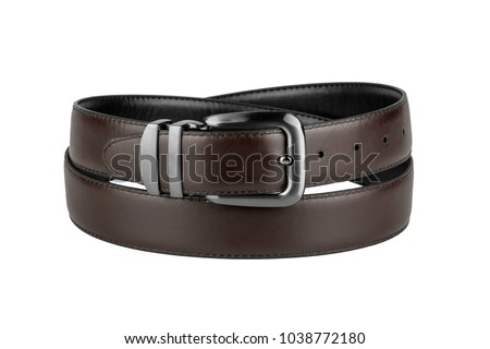 fastened fashionable men's brown leather belt with dark matted metal buckle isolated on white background Royalty-Free Stock Photo #1038772180
