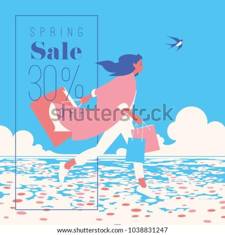 Spring Sale Banner, Sale Poster, Sale Flyer. 30 Off, Vector illustration.
