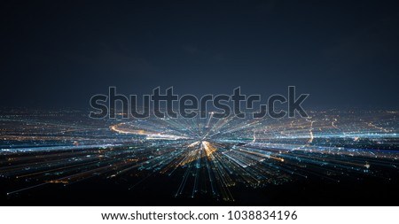 night shot from viewpoint. Concept for warp effect futuristic space tunnel and digital town #1038834196