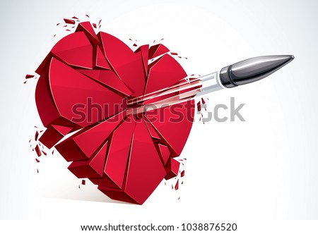 Heart broken with bullet gun shot, 3D realistic vector illustration of heart symbol exploding to pieces. Creative idea of breaking apart love, break up.