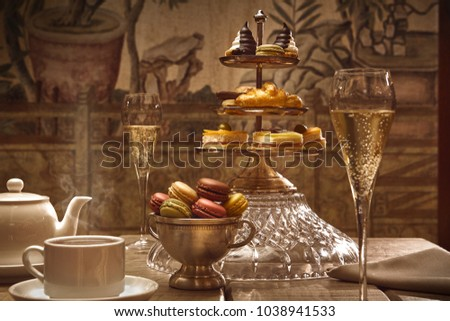 afternoon tea in the hotel lobby Royalty-Free Stock Photo #1038941533