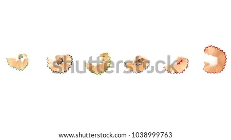 collection of a colorful pencil shavings isolated on a white background Royalty-Free Stock Photo #1038999763