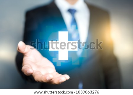 Businessman offer positive thing. Such as profit, Benefits, Development, Corporate Social Responsibility (CSR). Represented by plus sign. #1039063276