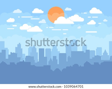 Flat cityscape with blue sky, white clouds and sun. Modern city skyline flat panoramic vector background. Urban city tower skyline illustration Royalty-Free Stock Photo #1039064701