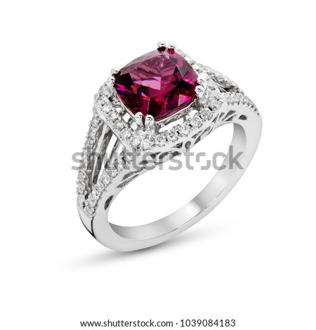 Ring of the jewelry with Rhodolite Garnet  diamond on  White background isolate  #1039084183