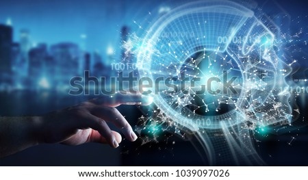 Businessman on blurred background using digital artificial intelligence interface 3D rendering Royalty-Free Stock Photo #1039097026