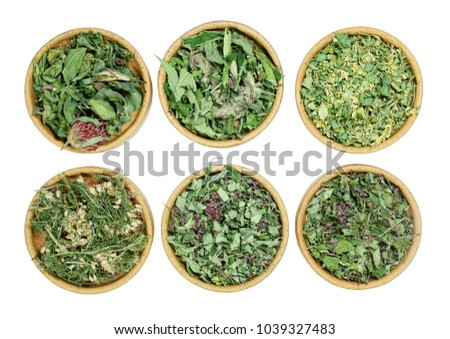 Set of healing herbs. Dry herbs for use in alternative medicine, phytotherapy, spa, herbal cosmetics. Preparing infusions, decoctions, tinctures. Used in powders, ointments, butter, tea, bath #1039327483