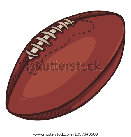 Vector Cartoon Brown Ball for Rugby. American Football