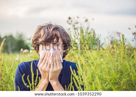 Young man sneezes because of an allergy to ragweed Royalty-Free Stock Photo #1039352290