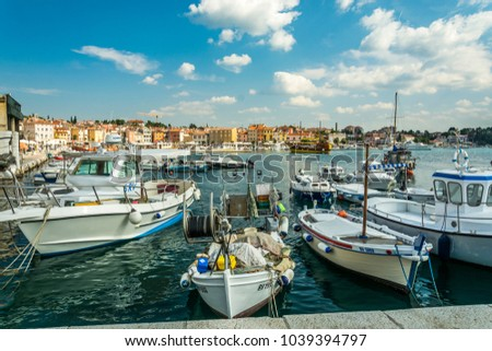 ROVINJ, CROATIA, SEPTEMBER 27, 2017: view of the marina in the  tuning old town of Rovinj #1039394797