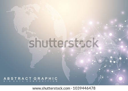 Big data visualization with a world globe. Abstract vector background with dynamic waves. Global network connection. Technological sense abstract illustration #1039446478