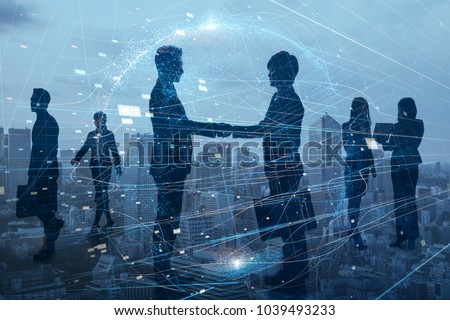 Silhouettes of group of businessperson. Global business network concept. #1039493233