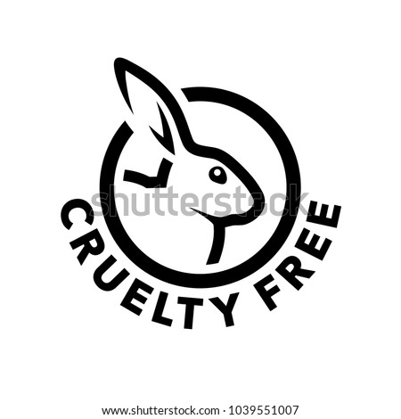 Cruelty free concept logo design with rabbit symbol. Not tested on animals icon. Vector illustration. Royalty-Free Stock Photo #1039551007