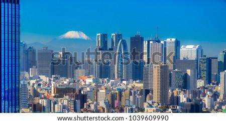 Tokyo skyline with Mount Fuji,  Japan.