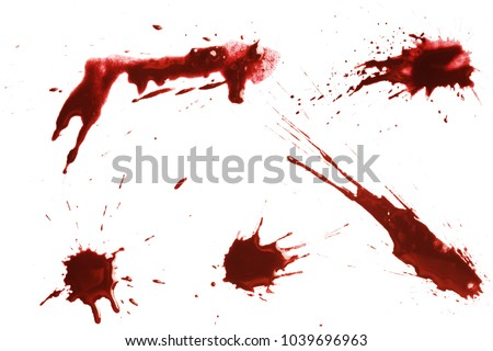 Blood dripping set, isolated on white background