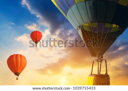 Beautiful balloon in the sky at sunset.  #1039755433