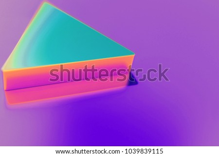 Candy Color Arrow Play Icon on Purple Background With Soft Focus. 3D Illustration of Arrow, Button, Buttons, Multimedia, Play, Round Icon Set for Presentation. #1039839115