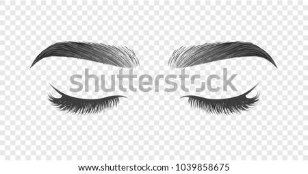 Vector illustration of closed eye with black long false eyelashes and eyebrows isolated on transparent background