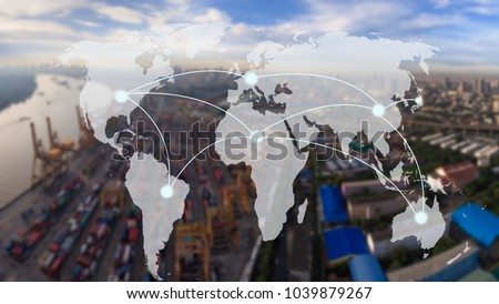 world map with connection line on  Industrial Container Cargo for Logistic Import Export at yard,world transportation concept  #1039879267