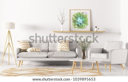Modern interior design of living room with sofa, shelf, rug, armchair and floor lamp 3d rendering #1039895653
