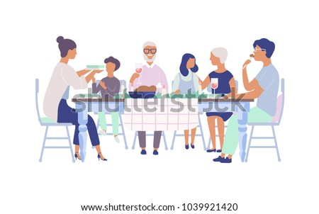 People sitting at table decorated with candles, eating food, drinking wine and talking to each other. Family holiday dinner. Flat cartoon characters isolated on white background. Vector illustration. Royalty-Free Stock Photo #1039921420