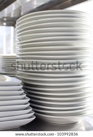 stack of plate  Pile clean side plates