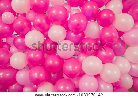 Pink balloons, bunny balloon, pink bubbles beautiful birthday texture