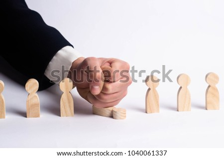 The boss beats the worker. Punishment and dismissal of a person from work. Pressure and discrimination of workers. Violation of human rights by business. Mass layoffs apprentices. Concept of business. #1040061337