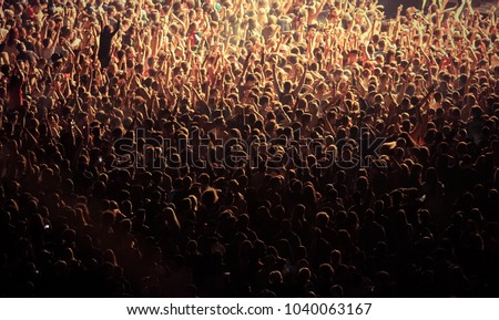 crowd at concert - summer music festival Royalty-Free Stock Photo #1040063167
