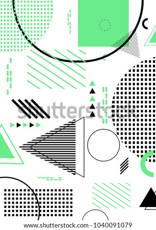 Pattern background with lines, dots, circles memphis trendy art. Abstract poster, surface, card design.Vector illustration. #1040091079
