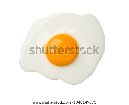 Fried egg isolated on white background on top view  food cooking photo object design Royalty-Free Stock Photo #1040149891