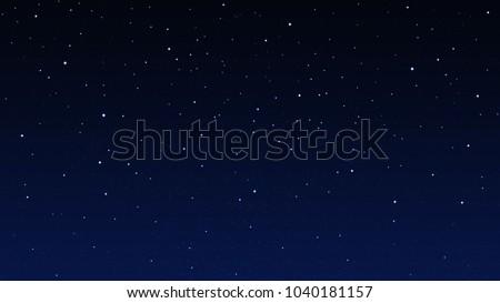 Night starry sky, dark blue space background with stars