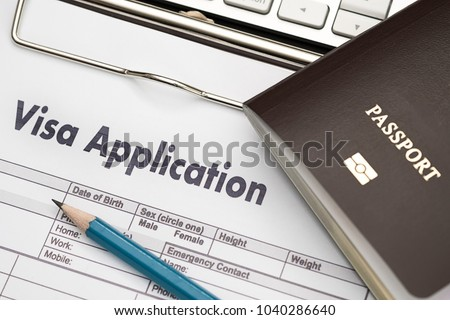 Visa application form to travel Immigration a document Money for Passport Map and travel plan #1040286640